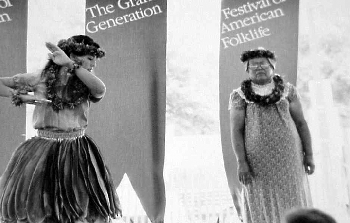 Emily Kau'i Zuttermeister (right) and her granddaughter, Hauolionalani Lewis. 1989 Festival of American Folklife, courtesy Ralph Rinzler Folklife Archives and Collections, Center for Folklife and Cultural Heritage, Smithsonian Institution