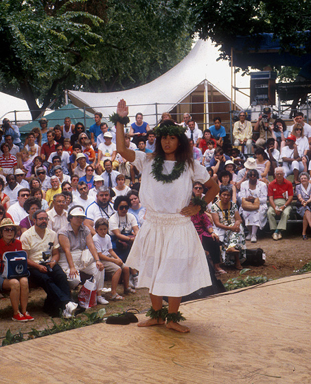 The Zuttermeister Family — Hawaiian Hula Dance. Chanter: Emily Kaui'i Zuttermeister, *kumu hula*. Dancer: Hauolionani Zuttermeister, Emily's granddaughter. 1989 Festival of American Folklife, photograph by Jeff Tinsley, courtesy Ralph Rinzler Folklife Archives and Collections, Center for Folklife and Cultural Heritage, Smithsonian Institution