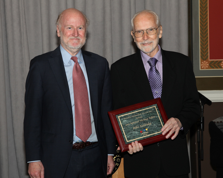 Mike Auldridge's modern approach to the Dobro -- an acoustic resonator guitar played with a slide -- played an integral role in the development of contemporary bluegrass and country music. Here he is receiving his award from NEA Chairman Rocco Landesman, 2012 National Heritage Fellowship Awards, Washington, D.C., photograph by Michael G. Stewart