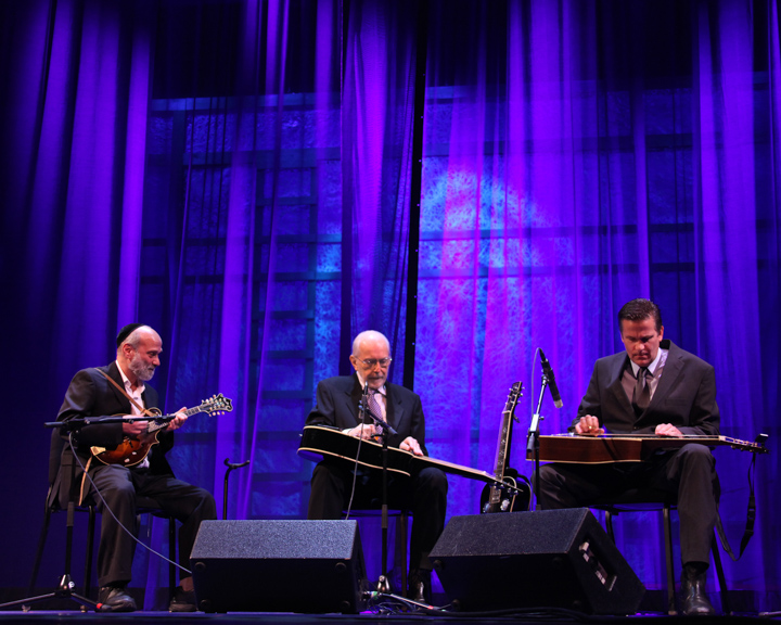 Mike Auldridge performing with Andy Statman and Rob Ickes at the 2012 National Heritage Fellowship Concert, Washington, D.C., photograph by Michael G. Stewart