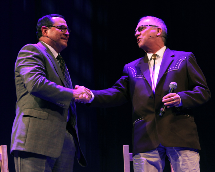 Albert B. Head being interviewed by Nicholas R. Spitzer at the 2012 National Heritage Fellowship Concert, Washington, D.C., photograph by Michael G. Stewart