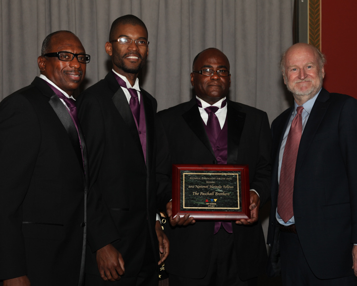 The Paschall Brothers receiving their award from NEA Chairman Rocco Landesman, 2012 National Heritage Fellowship Awards, Washington, D.C., photograph by Michael G. Stewart