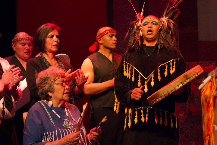 Members of the Lummi tribe performing at the 2013 National Heritage Fellowship Concert, Washington, D.C., photograph by Michael G. Stewart., Photograph by Michael G. Stewart