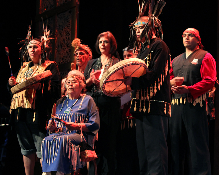 Members of the Lummi tribe performing at the 2013 National Heritage Fellowship Concert, Washington, D.C., photograph by Michael G. Stewart