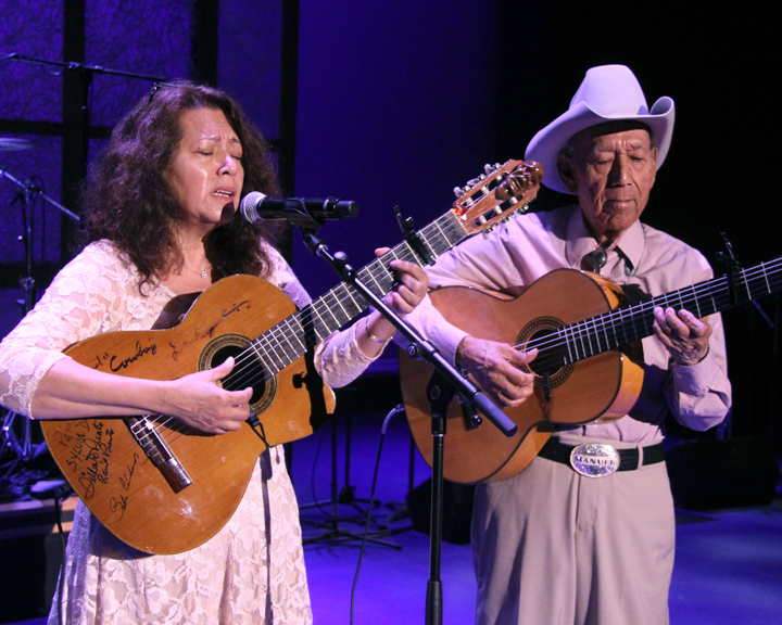 "Manuel ""Cowboy"" Donley performing with his daughter Sylvia at the 2014 National Heritage Fellowship Concert, Washington, D.C., photograph by Michael G. Stewart"