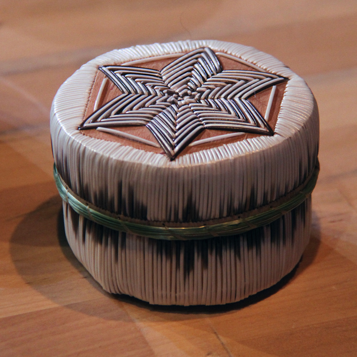One of Yvonne Walker Keshick's quill boxes at the 2014 National Heritage Fellowship Concert, Washington, D.C., photograph by Michael G. Stewart