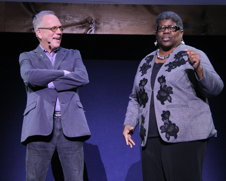 Nicholas R. Spitzer interviews Carolyn Mazloomi at the 2014 National Heritage Fellowship Concert, Washington, D.C., photograph by Michael G. Stewart