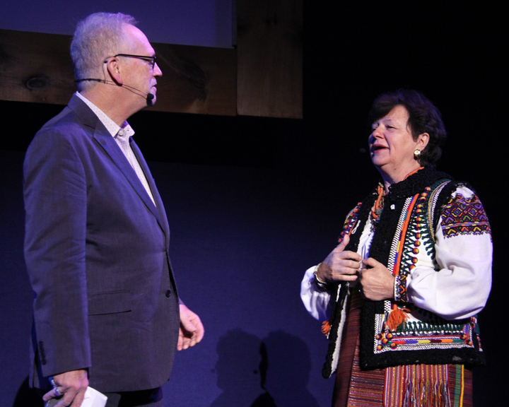 Nicholas R. Spitzer interviewing Vera Nakonechny at the 2014 National Heritage Fellowship Concert, Washington, D.C., photograph by Michael G. Stewart