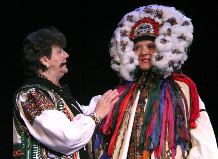 Antonia models her sister Vera Nakonechny's costume at the 2014 National Heritage Fellowship Concert, Washington, D.C., photograph by Michael G. Stewart