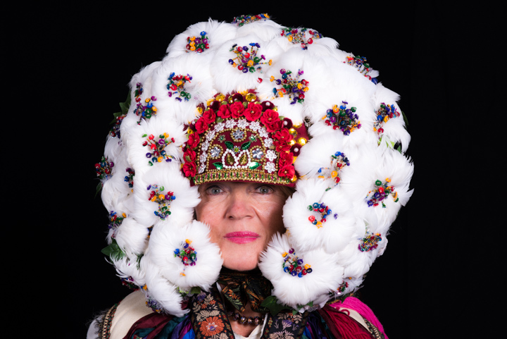 Antonia models her sister Vera Nakonechny's wedding crown, Washington, D.C., 2014, photograph by Alan Govenar