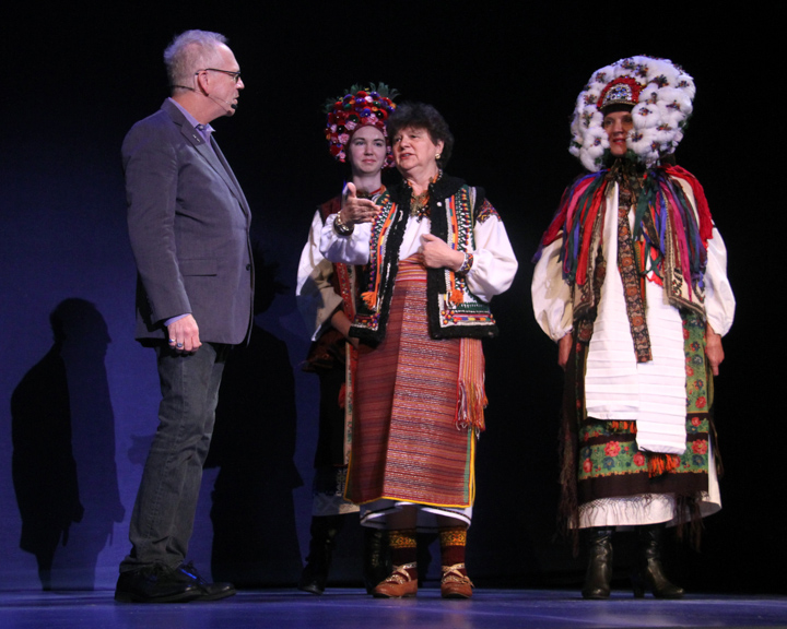 Antonia and Katherine model Vera Nakonechny's costumes at the 2014 National Heritage Fellowship Concert, Washington, D.C., photograph by Michael G. Stewart