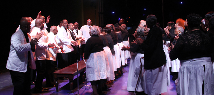 The Singing and Praying Bands of Maryland and Delaware at the 2014 National Heritage Fellowship Concert, Washington, D.C., photograph by Michael G. Stewart
