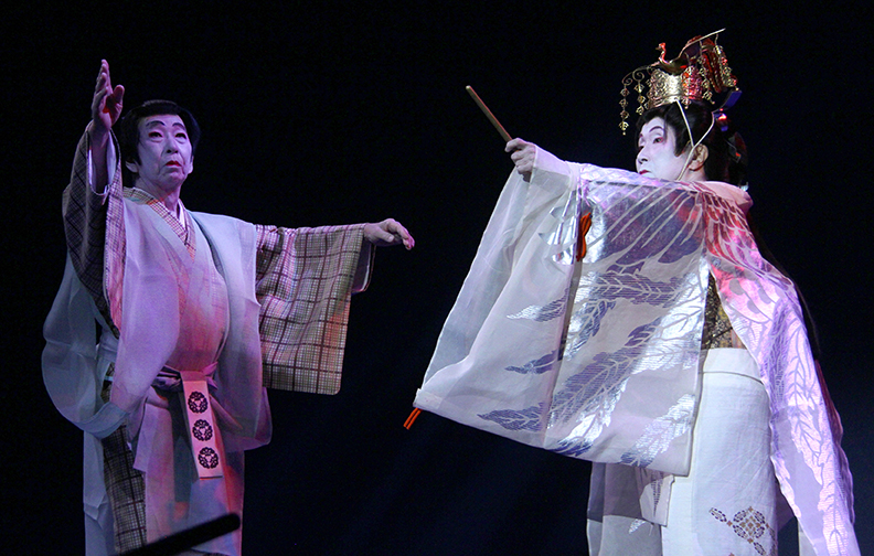 Gertrude Yukie Tsutsumi performing with her colleague at the 2015 National Heritage Fellowship Concert, Washington, D.C., photograph Michael G. Stewart.
