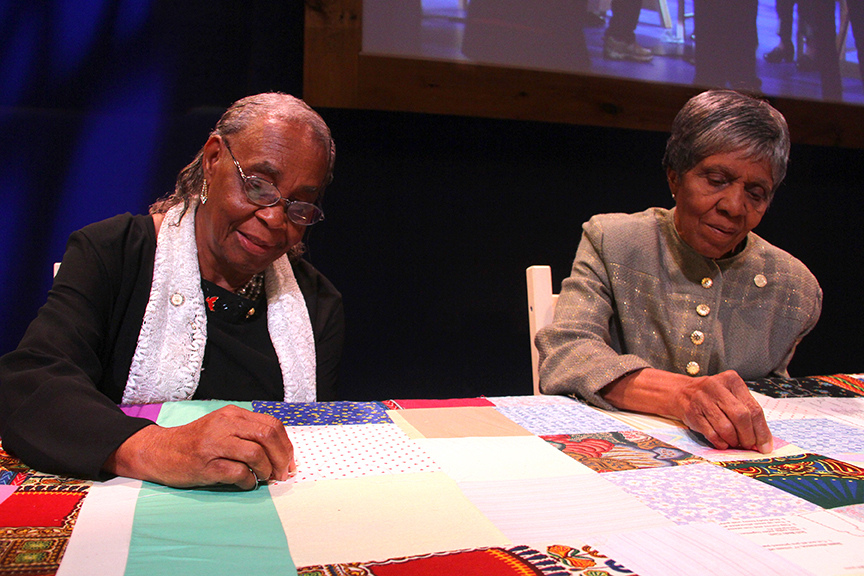 Mary Lee Bendolph and Lucy Mingo at the 2015 National Heritage Fellowship Concert, Washington, D.C., Photograph by Michael G. Stewart.
