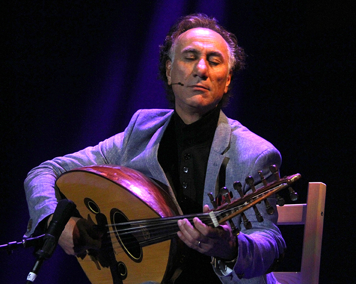 Rahim AlHaj performing at the 2015 National Heritage Fellowship Concert, Washington, D.C., photograph by Michael G. Stewart.