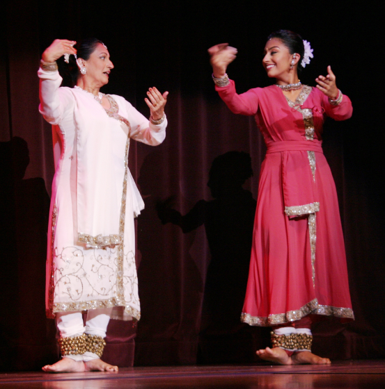 Anjani Ambegaokar and her daughter, Amrapali Ambegaokar, 2004 National Heritage Fellowship Concert, Washington, D.C., hotograph by Michael G. Stewart, Courtesy National Endowment for the Arts