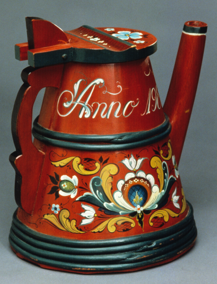 "Eldrid Arntzen, wooden tankard painted in Hallingdal style; 1983. Height 12"", Ddameter base 9.5"". Photograph by Phillip Fortune, courtesy Eldrid Arntzen"