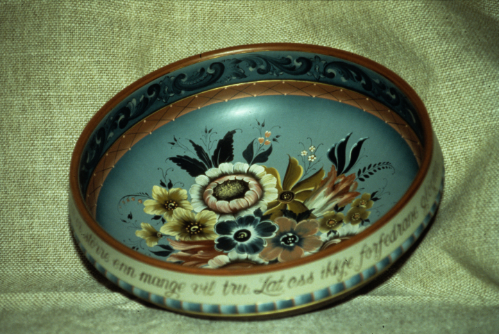 "Eldrid Arntzen, wooden bowl painted in the Valdres style; 1989. Height 5.25"", Diameter 16"". Courtesy Eldrid Anrtzen"
