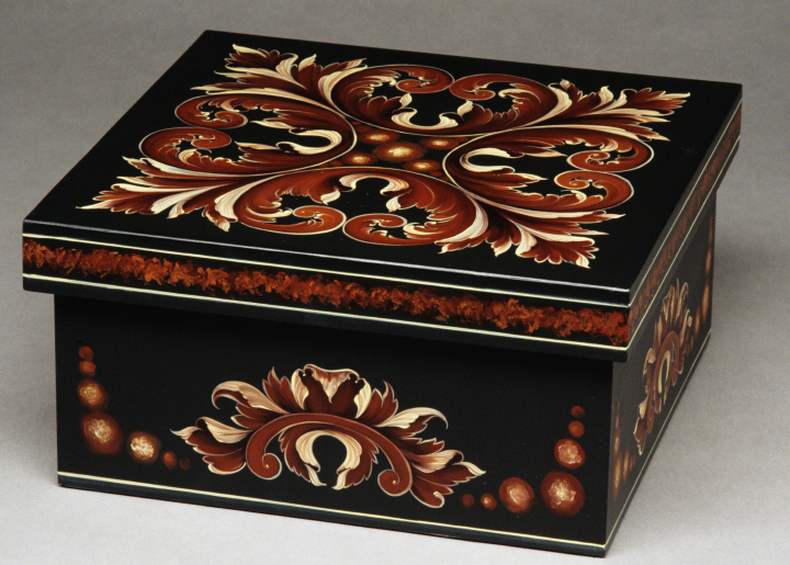 "Eldrid Arntzen, wooden box painted in Gudbrandsdal style; 1996. Height 6.25"", length/Width 12"" square. Photo by Phillip Fortune, courtesy Eldrid Arntzen"