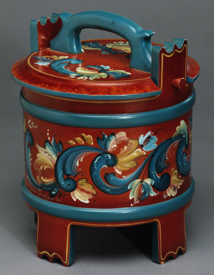 "Eldrid Arntzen, Ambar, wooden porridge vessel, painted in Telemark style; 1991. Height 10.5"", diameter 8.5"". Photograph by Phillip Fortune, courtesy Eldrid Arntzen"
