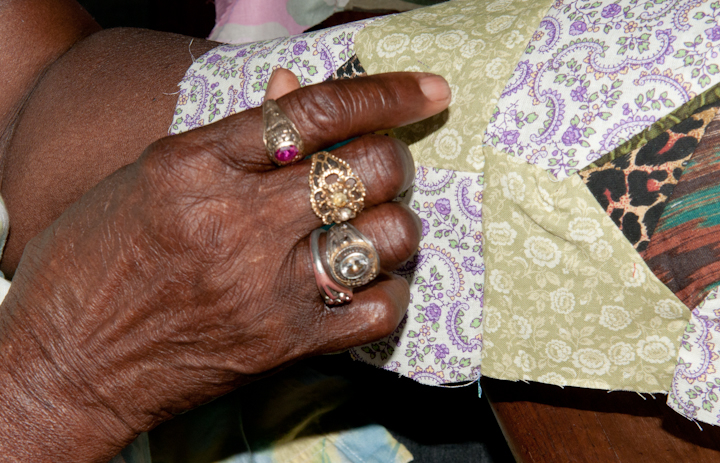 Laverne Brackens sewing pieces for a strip quilt, Fairfield, Texas, July 6, 2011, photograph by Alan Govenar