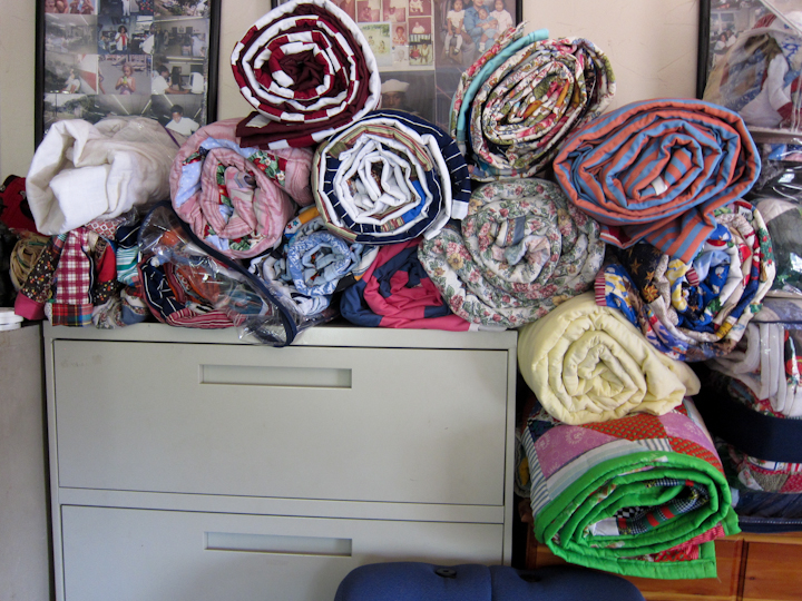 Rolled quilts by Laverne Brackens, Fairfield, Texas, July 6, 2011, photograph by Alan Govenar