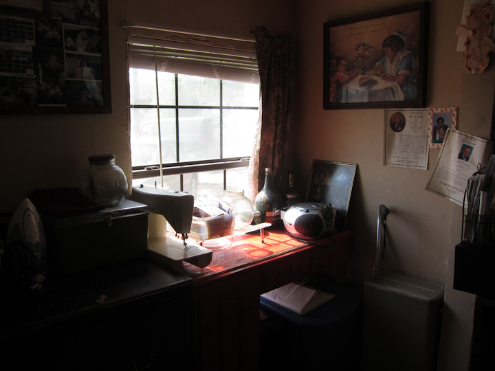 Laverne Brackens' sewing desk, Fairfield, Texas, July 6, 2011, photograph by Alan Govenar