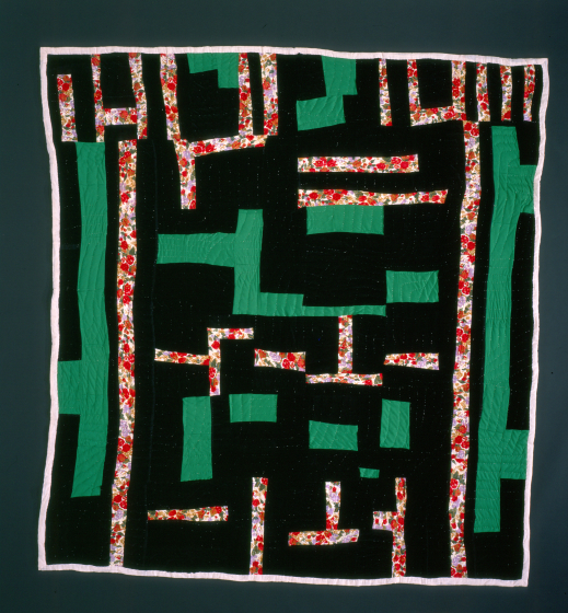 Laverne Brackens, 'Black and Green Velvet Strip Quilt,' 1990-91 photograph by Eli Leon, courtesy National Endowment for the Arts