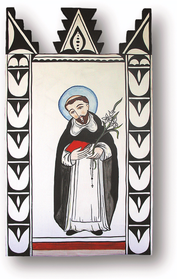Santo Domingo, retablo by Charles Carrillo, photograph by Awalt/Rhetts, courtesy LPD Press and<www.nmsantos.com>
