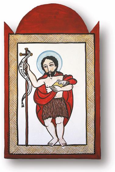 San Juan Bautista, retablo by Charles Carrillo, photograph by Awalt/Rhetts, courtesy LPD Press and <www.nmsantos.com>