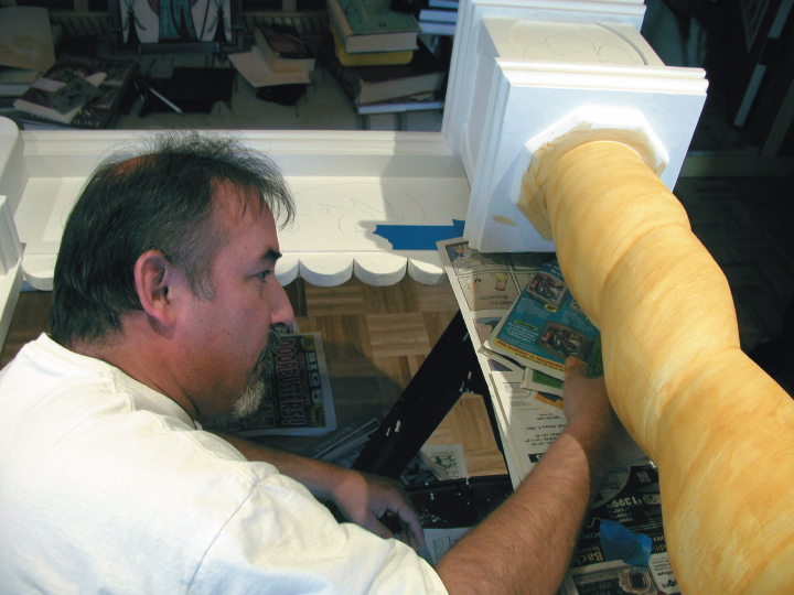 Charles Carrillo in his workshop, photograph by Awalt/Rhetts, courtesy of LPD Press and <www.nmsantos.com>