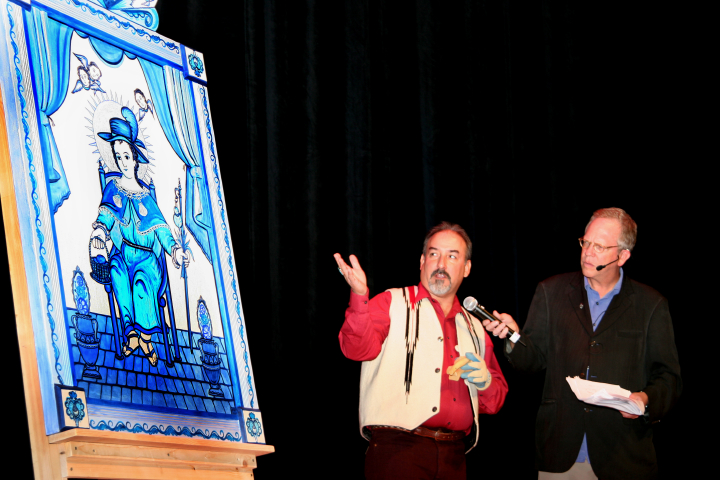 Charles Carrillo explains his retablo to Nicholas R. Spitzer, 2006 National Heritage Fellowship Concert, Strathmore Music Center, Bethesda, Maryland, photograph by Michael G. Stewart