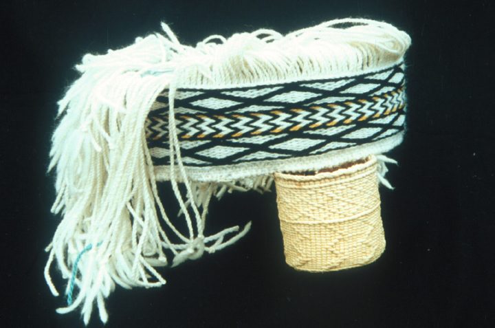 Spruce root basket and wool headband by Delores Churchill, UBC Museum August 2002, courtesy Delores Churchill