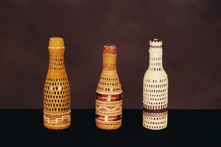 Weavings by Delores Churchill, (left to right) Tsim sh'am, Tlinget, Haida, courtesy Delores Churchill
