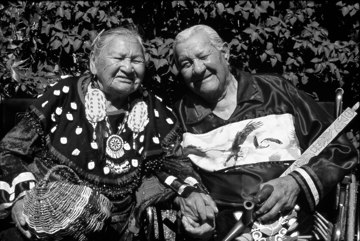 Rose and Francis Cree were highly respected Ojibwe elders in Dunseith, North Dakota, near the Turtle Mountain Indian Reservation, where both were born. Rose passed her art along to her children and to others as well. Rose is holding a basket she made while Francis is holding his pipe. Courtesy National Endowment for the Arts