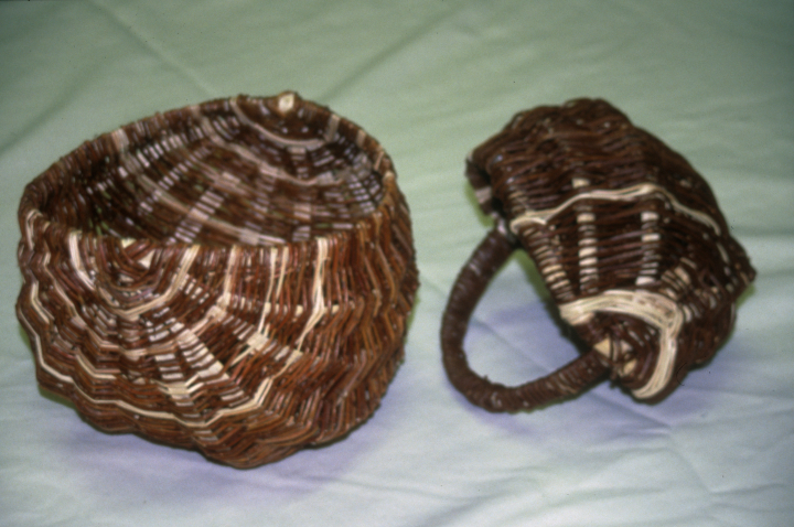 Rose made numerous styles, shapes and sizes of baskets.  Some are for carrying babies and laundry; others are burden baskets for fruit and vegetables, some with lids, some without. Turtle Mountain Indian Reservation, North Dakota, courtesy  North Dakota Council on the Arts