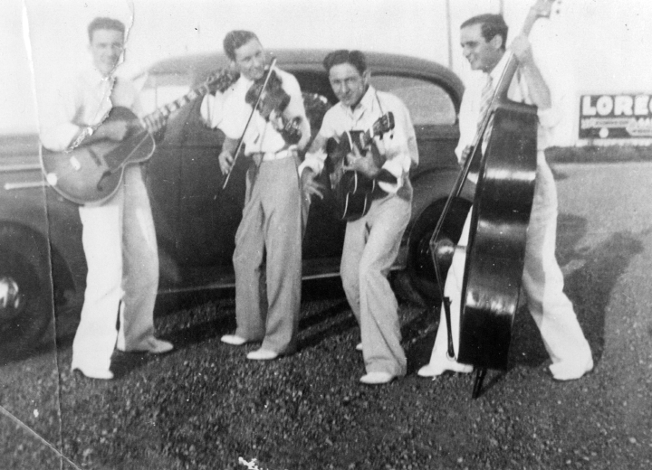From left: Floyd Shreve, Luderin Darbone, Danny Shreve and Pete Duhon, 1938, courtesy Luderin Darbone
