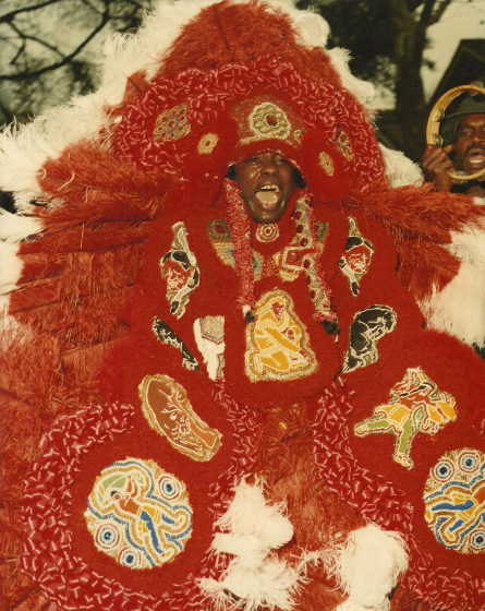 Bo Dollis, a skilled vocalist and costume maker, led the Mardi Gras Indian tribe the Wild Magnolias for more than four decades and took the tradition far beyond its New Orleans origins, photograph by J Nash Porter, courtesy National Endowment for the Arts