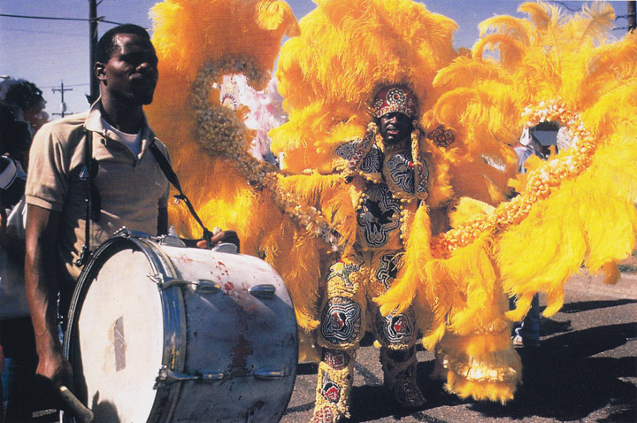 Bo Dollis, Big Chief, Wild Magnolias, Mardi Gras day, New Orleans, Louisiana, 1985 photograph by Michael P. Smith