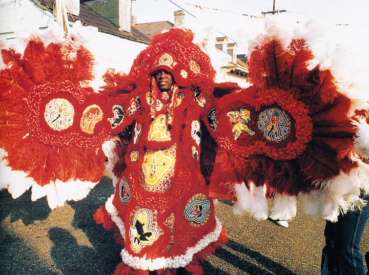 Bo Dollis, Big Chief, Wild Magnolias, Mardi Gras Day, New Orleans, Louisiana, 1984,  Photograph by Michael P. Smith