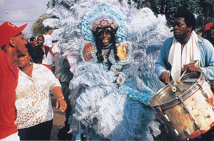 Bo Dollis, Big Chief, Wild Magnolias, Mardi Gras Day, New Orleans, Louisiana, 1989, photograph by Michael P. Smith