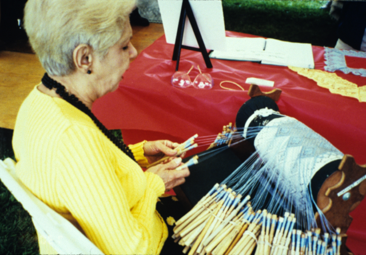 Rosa Elena Egipciaco working at her *mundillo* (loom), courtesy National Endowment for the Arts