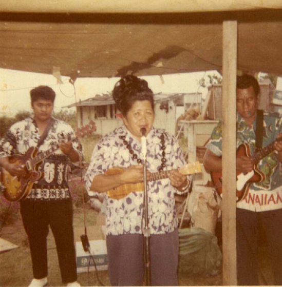 Ledward Kaapana performing with his mom and dad at a private party in Makaha, Hawaii, 1967, Courtesy Ledward Kaapana
