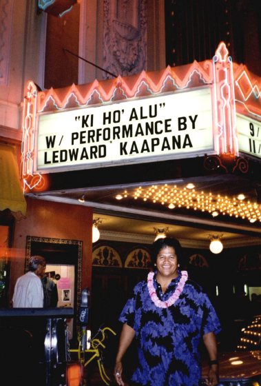 Ledward Kaapana on the marquee at the Castro Theatre, San Francisco, California, 2004, courtesy Ledward Kaapana