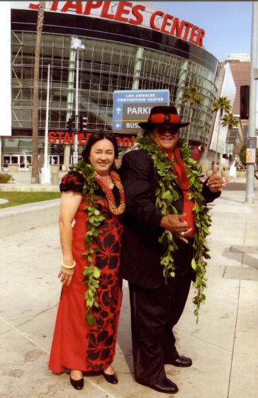 Ledward Kaapana with his wife, Sharon. Ledward's first Grammy nomination, Staples Center, Los Angeles, 2006, courtesy Ledward Kaapana