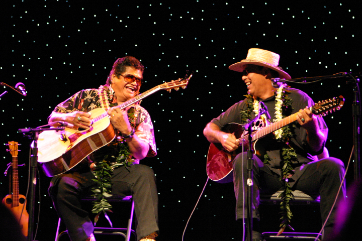 Ledward Kaapana performing with Mike Kaawa at the Triple Door in Seattle, Washington, 2008, courtesy Ledward Kaapana