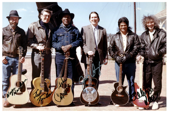 Smithsonian Masters of Steel String Guitar tour, 1989, with (L-R) Wayne Henderson, Tal Farlow, John Cephas, Jerry Douglas, Led, and Albert Lee, courtesy Ledward Kaapana