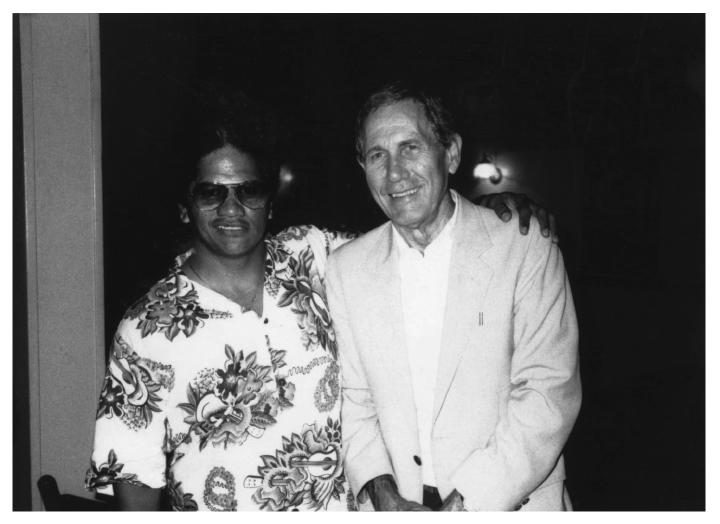 Ledward Kaapana with his idol, Chet Atkins, Nashville, Tennessee, 1987, courtesy Ledward Kaapana