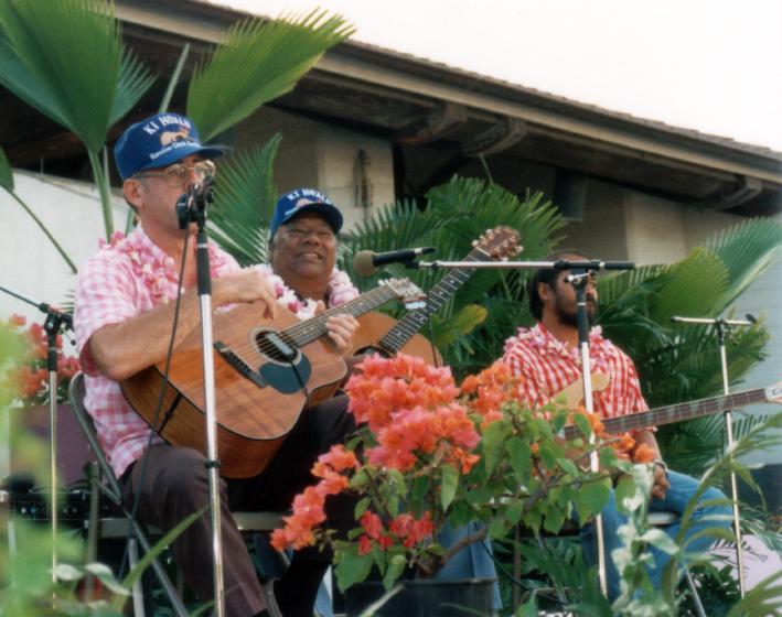 Ed Lee, Raymond Kane, Rolf Libiclisos, Ki Ho'alu Festival, 1988, courtesy Raymond Kane