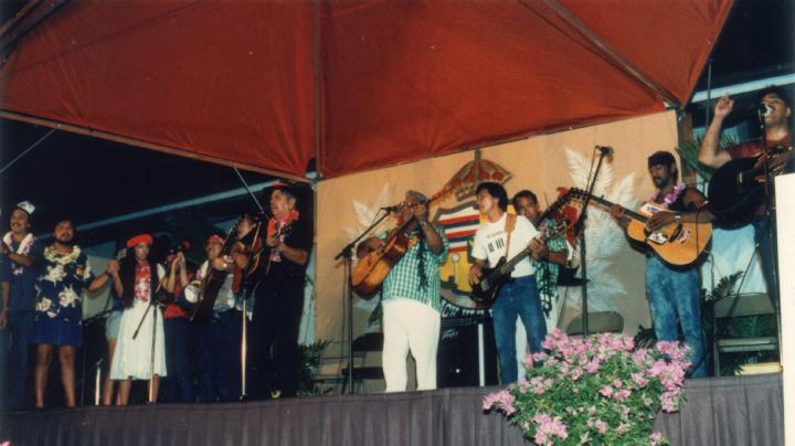 Raymond Kane (middle), Ki Hu'alu Slack Key Festival, 1987, courtesy Raymond Kane